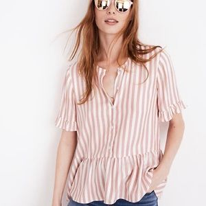 Madewell Striped Ruffle Hem Top